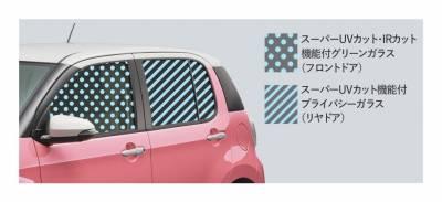 スーパーUVカットパッケージ■UVカット機能付ウインドシールドグリーンガラスも紫外線を約99%カットします。また赤外線をカットするIRカット機能付となります(除く寒冷地仕様装着車)。